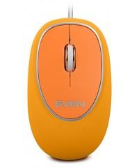Мышь проводная Sven RX-555 бесшумная, оранжевый