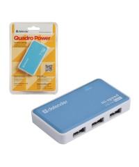 USB Хаб 4xUSB 2.0 DEFENDER Quadro Power Блок питания 2А