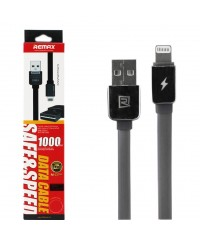 Кабель USB 2.0 для Iphone 5/Ipad Mini/Ipad 4 Remax черный 1м